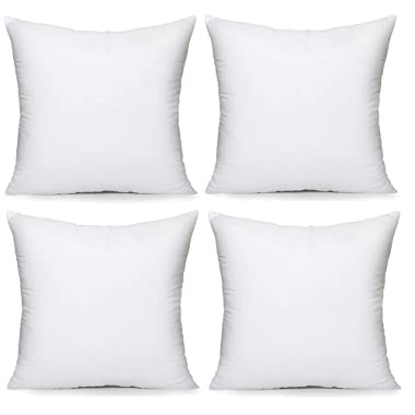 Acanva Hypoallergenic Pillow Insert Form Cushion, Square, 16  L x 16  W, Pack of 4