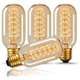 DORESshop T45 40W Vintage Antique Light Bulbs, Warm White, E26 Edison Tubular Style Bulb, Amber Glass, 110-130 Volts, Filament Light Bulbs for Home Light Fixtures Decorative, Dimmable(4 Pack)