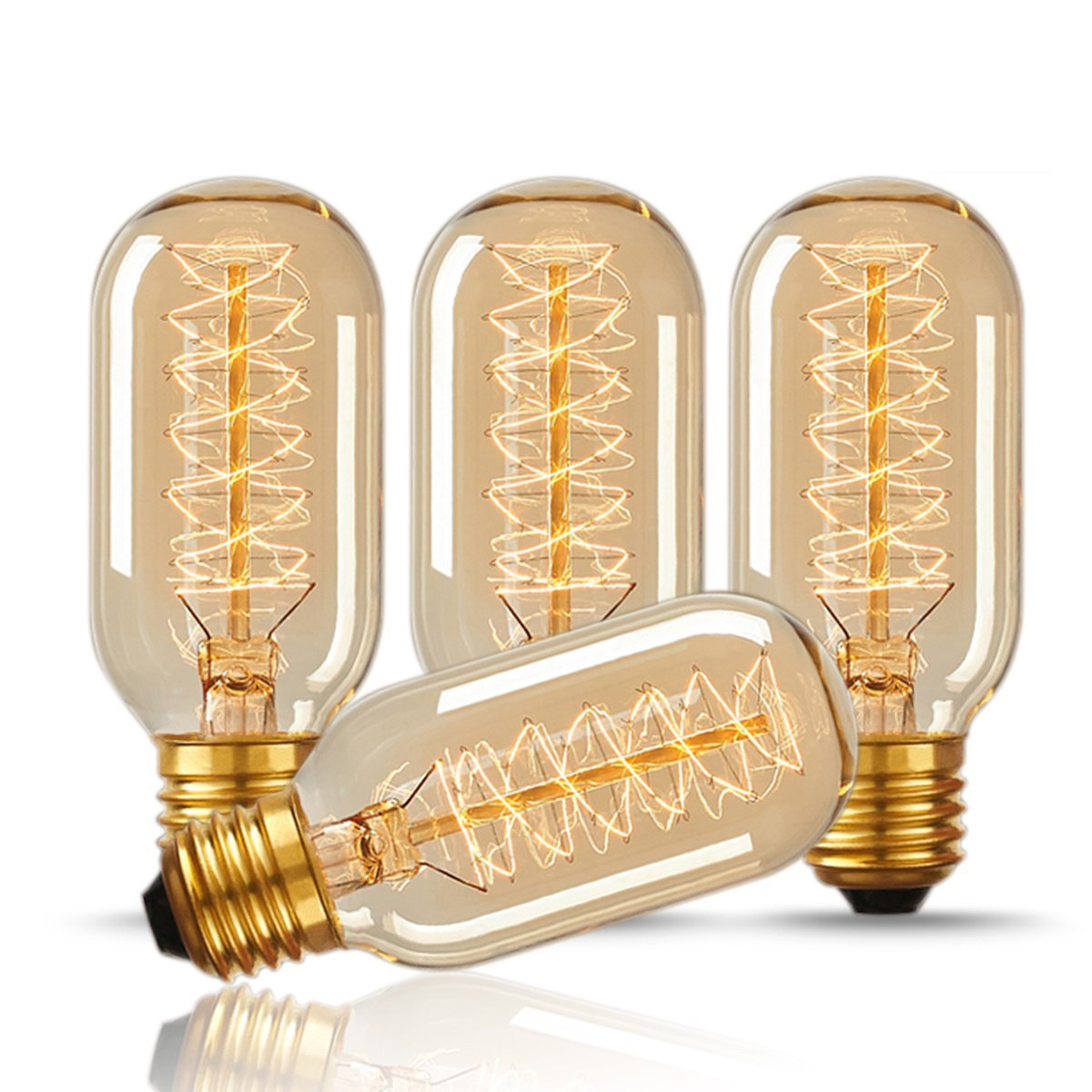DORESshop T45 40W Vintage Antique Light Bulbs, Warm White, E26 Edison Tubular Style Bulb, Clear Glass, 110-130 Volts, Filament Light Bulbs for Home Light Fixtures Decorative, Dimmable(4 Pack)