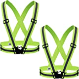 Reehut Fully Adjustable Elastic Safety Vest With Reflective Strips for Multi-purpose: Running, Cycling, Walking- High Visibility Neon Yellow ( 2 Pack)