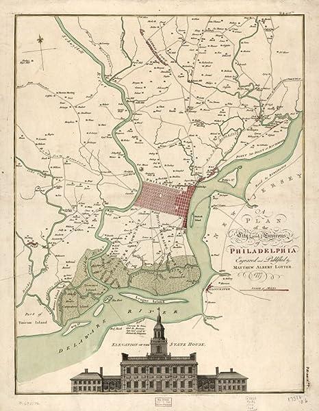 Vintage 1777 Map of the city and environs of Philadelphia. Pennsylvania,  Philadelphia Region, United States