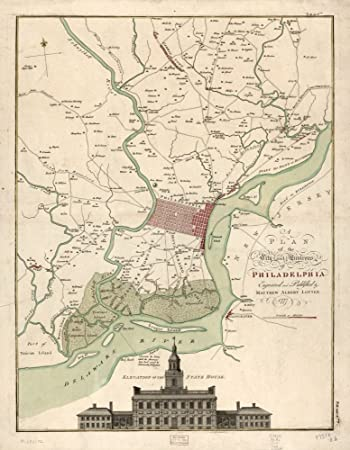 Amazon.com: Vintage 1777 Map of the city and environs of ...
