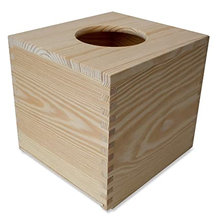 Creative Deco Caja Pañuelos Madera Papel | 13 x 14,5 x 14 cm |