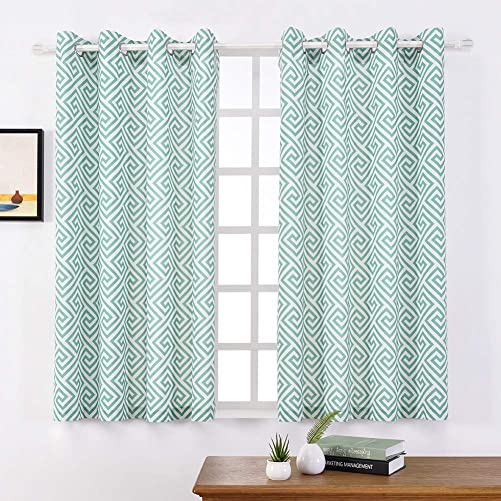 Linen Blend Curtains – Moroccan Tile Pattern Print Curtain Window Curtain Panels for Living Room Geometry Lattice, Grommet Top Drapes for Bedroom, Patio, Parlor 52 W x 45 L, Light Green 2 Panels