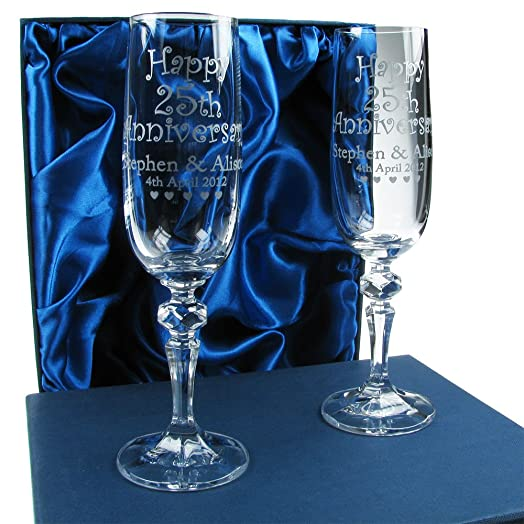 50th Wedding Anniversary Gift Personalised Champagne Flutes 24 Lead Crystal Engraved