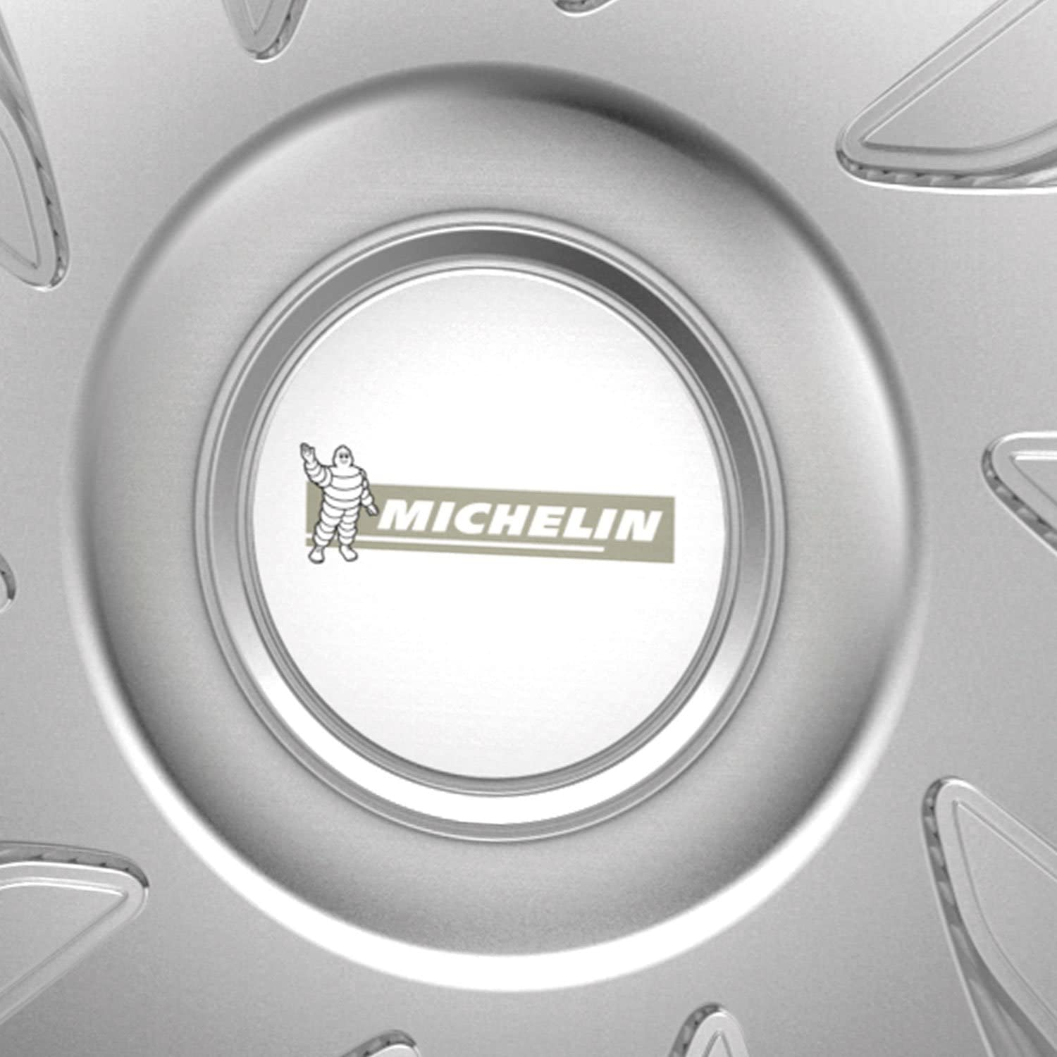 model 34 set of 4 silver 14 inches Michelin 92005 Wheel trim set 35.56 cm set of 4 with reflector system N.V.S.