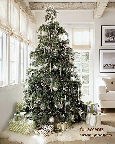 white shag faux fur sheepskin christmas tree skirt decoration throw rug - Amazon White Christmas Decorations