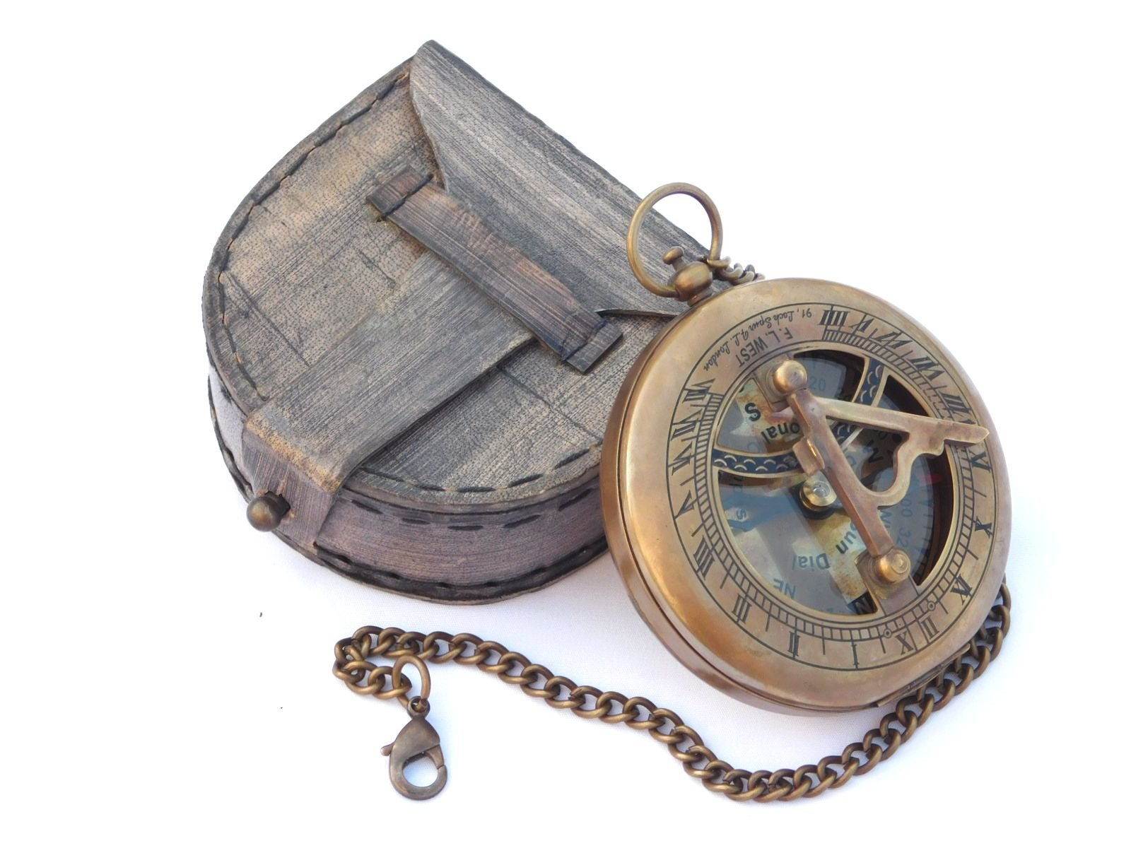 Neovivid Brass Sundial Compass With Chain & Leather Case - Marine Nautical - Sun Clock - Steampunk Accessory by Neovivid