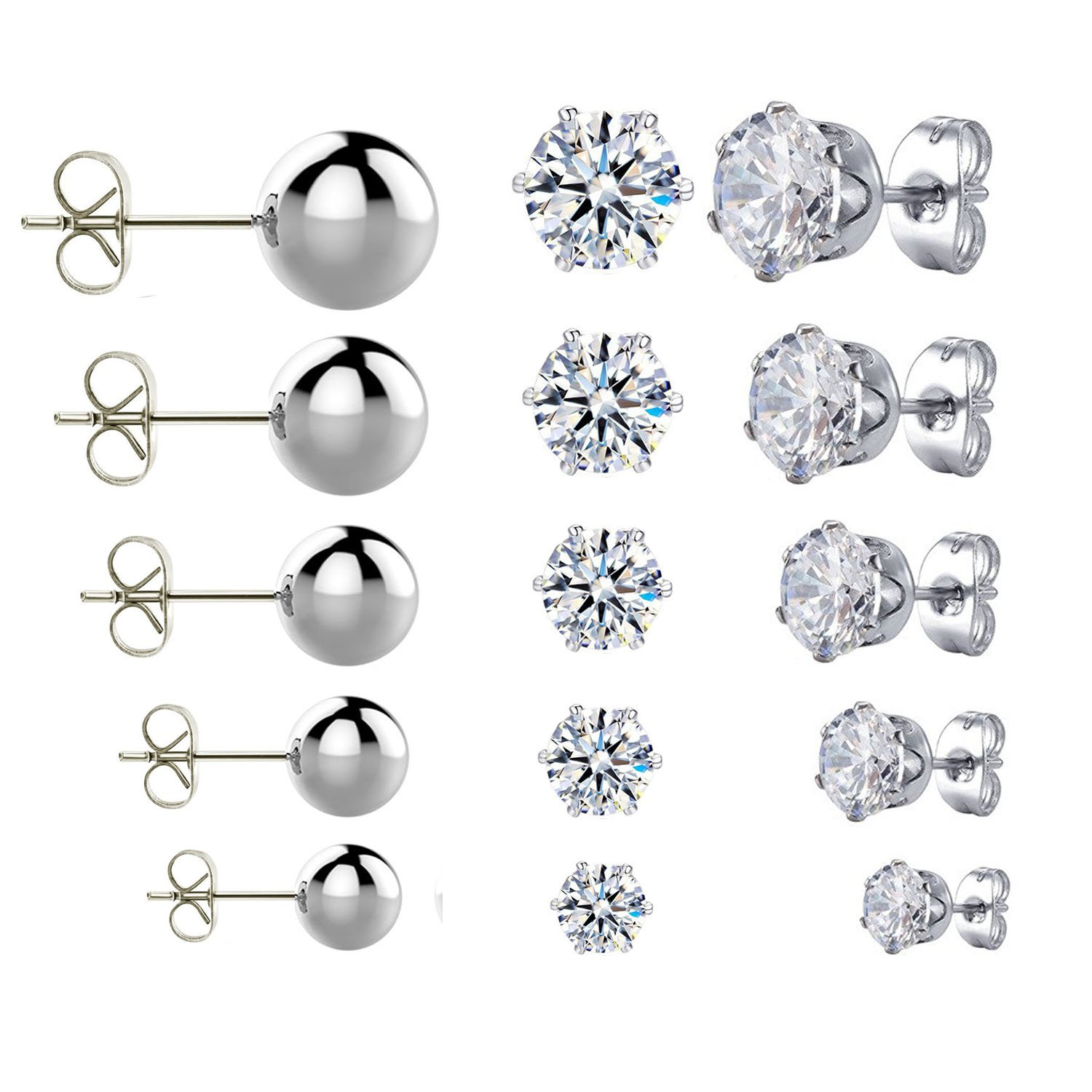 JININA Stainless Steel Earrings Stud Cubic Zirconia Stud Earrings Ball Stud Earrings for Women Men-3-7mm JES-0102