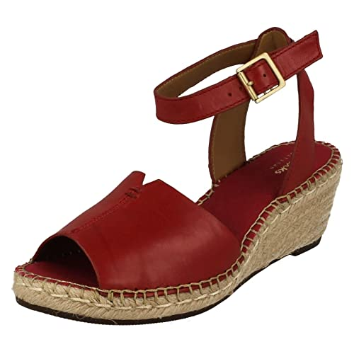 0bae3a644d2 Ladies Clarks Hessian Wedge Summer Sandals Petrina Selma - Red Leather - UK  Size 7D -