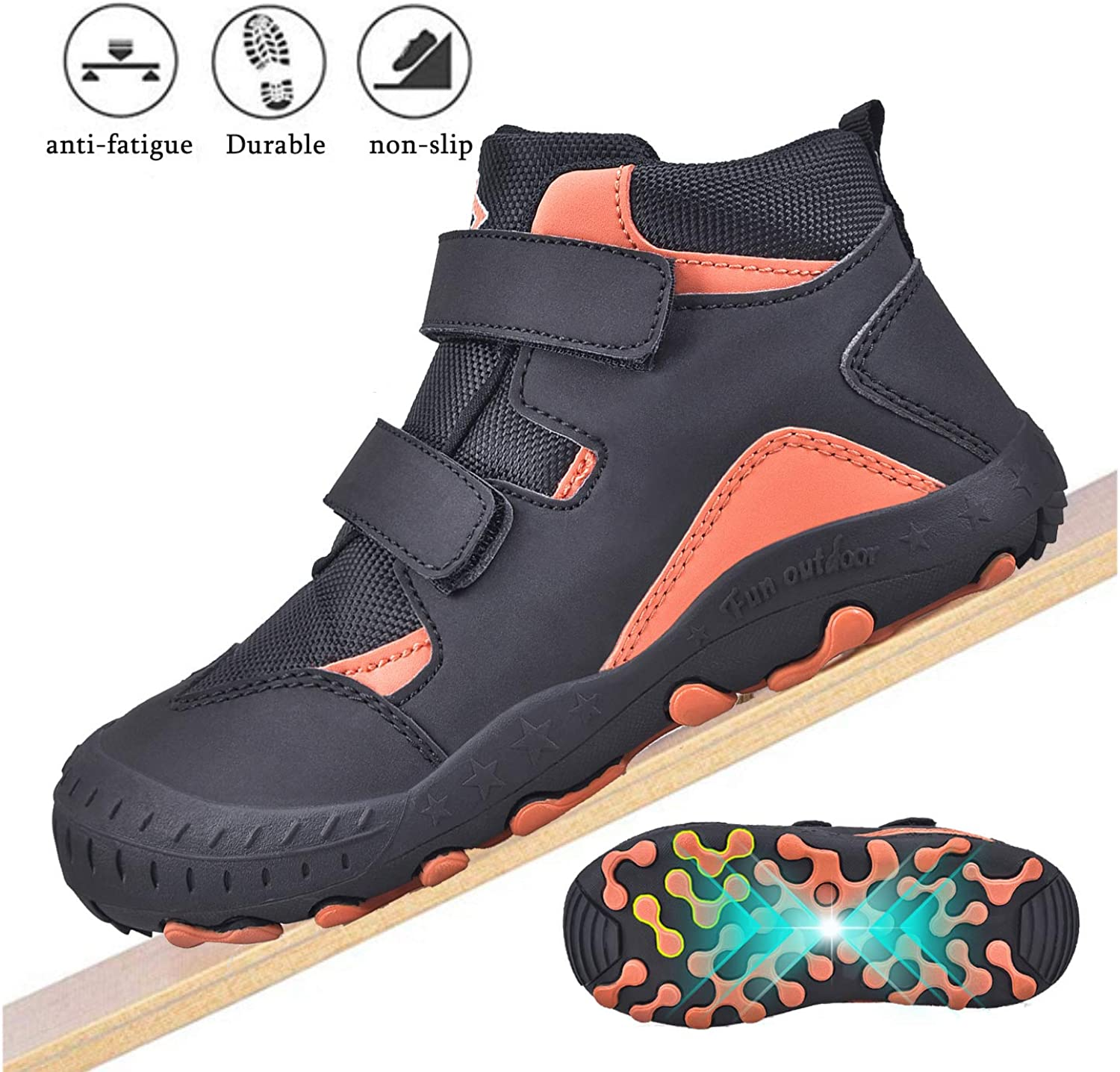 JACKSHIBO Boys Girls Ankle Hiking Boots Kids Outdoor Trekking Shoes Water Resistant Walking Sneakers for Toddler