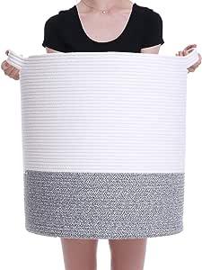"18"" x 18"" x 20"" Mega Size Extra Large Storage Basket, Cotton Rope Storage Baskets, Woven Laundry Hamper, Toy Storage Bin, for Toys Towel Blanket Basket in Living Room Baby Nursery, Bottom Black Mix"