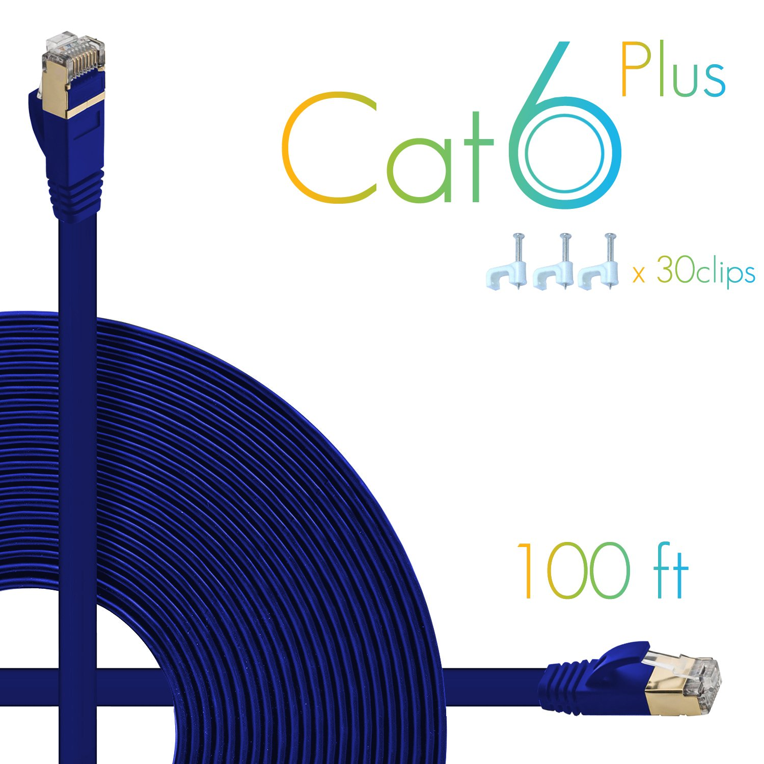 Aoforz Ethernet Cable Cat6 Plus 50ft Blue Flat High Network Cables Cat5e White Patch 32 Awg 35 Foot Speed Internet With Clips Computer Snagless Rj45