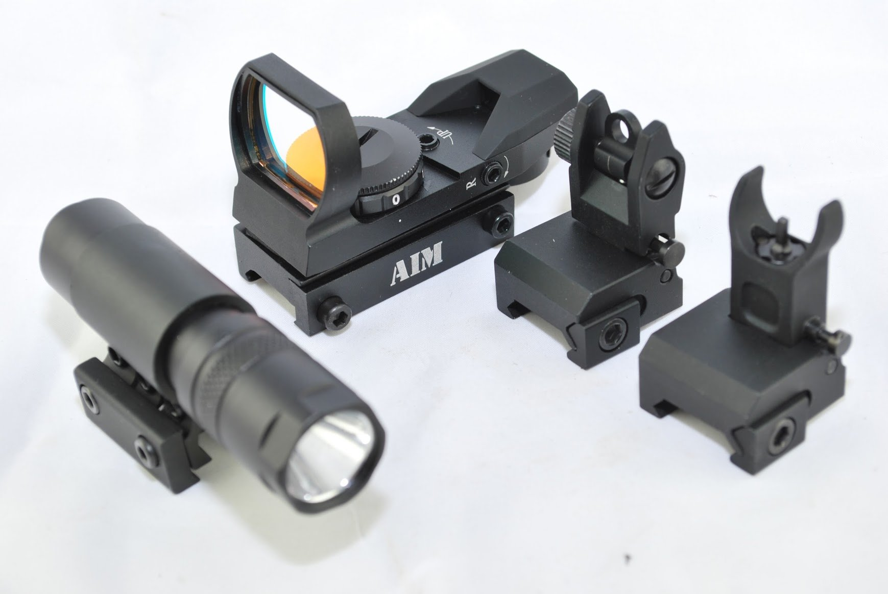TacBro - AIM Reflex Dual-Illuminated Sight + AIM 90 Lumen Flahslight + AIM AR Low Profile Front/Rear Flip-Up Sight by TACBRO