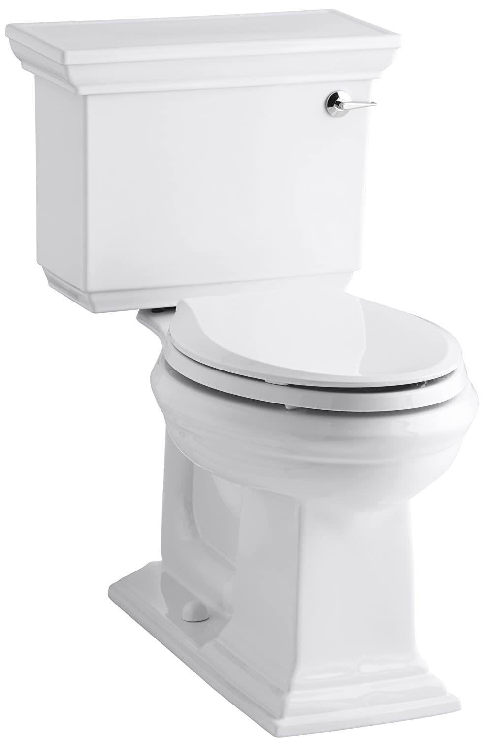 free shipping KOHLER K-3817-RA-0 Memoirs Stately Comfort Height Two-Piece Elongated 1.28 GPF Toilet with AquaPiston Flush Technology and Right-Hand Trip Lever, White