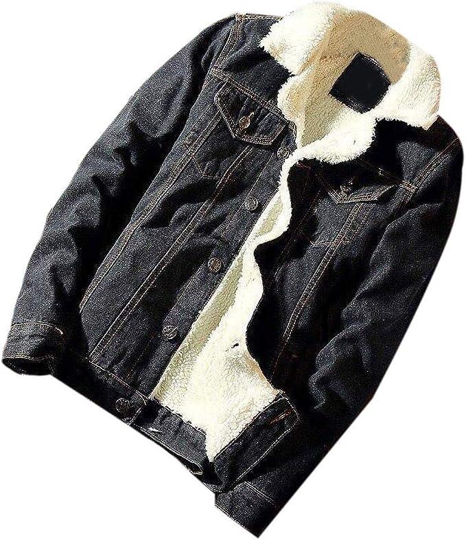 Wilngo Mens Coat Sherpa Thick Fleece Lined Winter Denim Trucker Jacket Coat