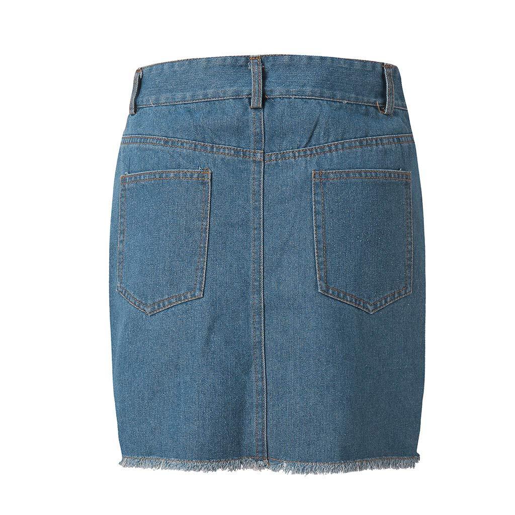 Pervobs Women Fashion Modern Denim Skirt Button Zipper Fly Open Boot Cut Mini Skirt Shorts with Pockets(2XL, Blue) by Pervobs Women Pants (Image #6)