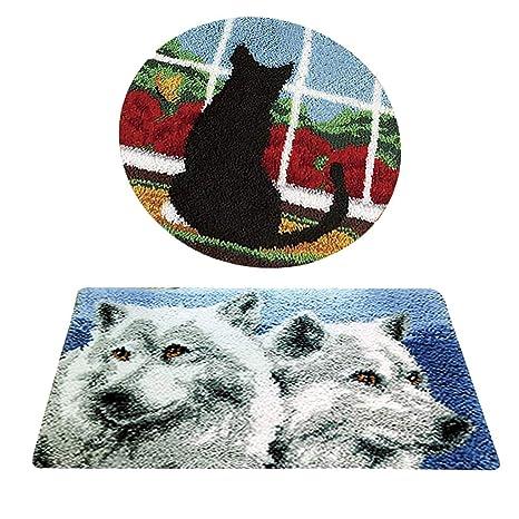 Baoblaze - Juego de 2 alfombras en Forma de Gato, diseño de ...