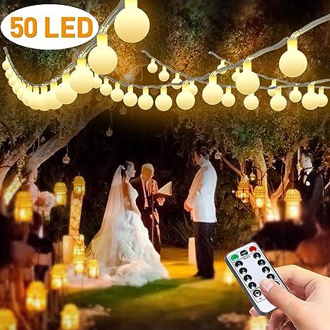 Guirnalda Luces Exterior Pilas, Luces Decorativas Habitacion, FishOaky 7M / 23FT 50 Globos LED Luces Blanco para Interiores, al Aire Libre, Árbol de ...