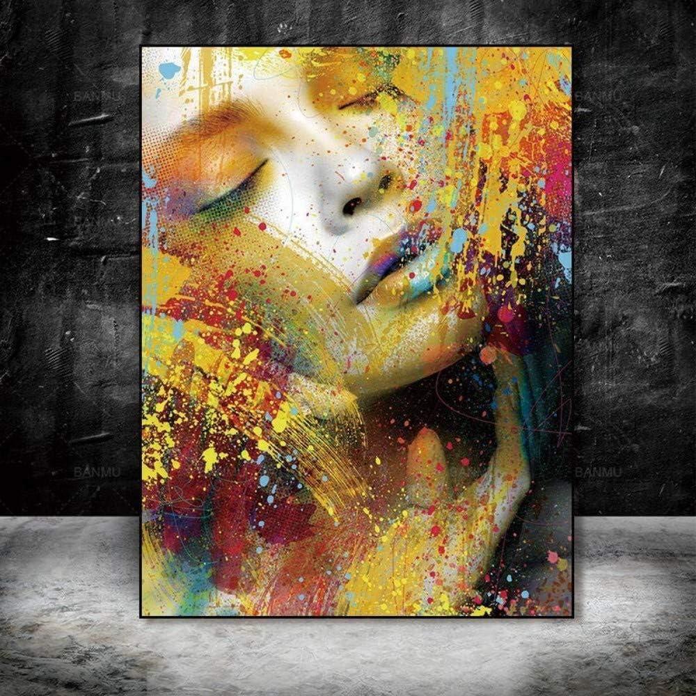 Impresión En Lienzo,Retrato De Rostro De Mujer Abstracto De Gran Tamaño Pintura Al Óleo Pintada Lienzo De Pintura Pintura Moderna Pared Arte Decoración del Hogar, 80 × 120 Cm