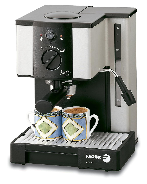 Fagor CR-282, Plata/Negro, 1000 W, AC 220-230V@50Hz, 255 x 360 x 260 mm, 6150 g, 7500 g - Máquina de café: Amazon.es: Hogar