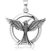 WithLoveSilver Sterling Silver 925 Celtic Phoenix Firebird Bird of Paradise Pendant