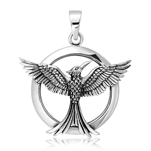 Withlovesilver sterling silver 925 celtic phoenix firebird bird of withlovesilver sterling silver 925 celtic phoenix firebird bird of paradise pendant aloadofball