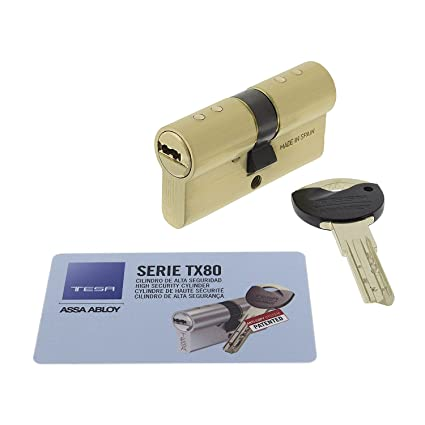 Tesa Assa Abloy,TX853035L,Cilindro de Alta seguridad patentado, Latonado, 30 x