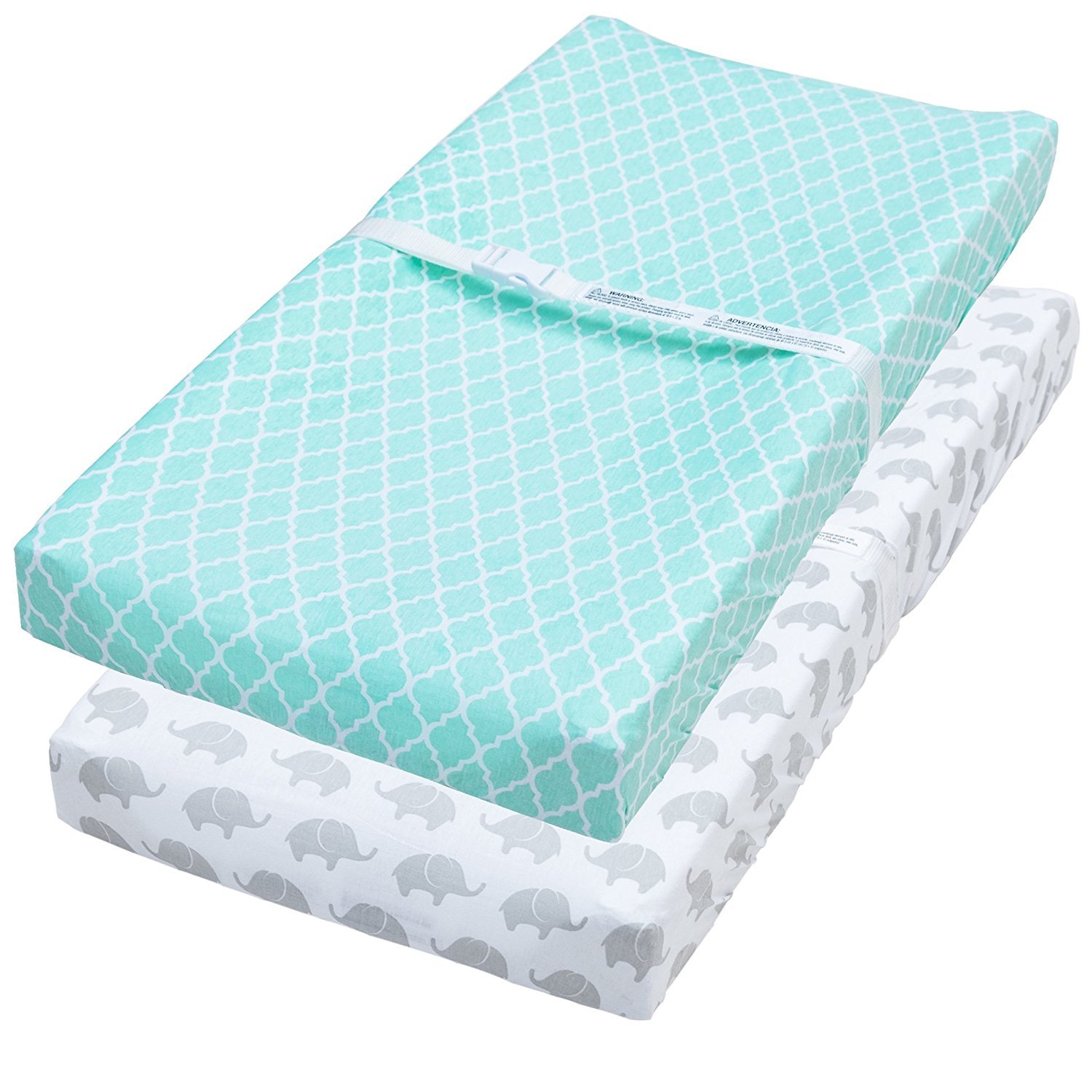 Leakproof Changing Pad Covers, 2 Pack Mint & Elephant Fitted Soft Cotton Sheets by Jomolly