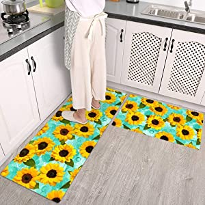 QIYI Kitchen Rugs and Mats Sets of 2 Piece Non Skid Washable Runner Rugs for Kitchen Floor Anti Fatigue Home Office Chef Comfort Standing Mat 17