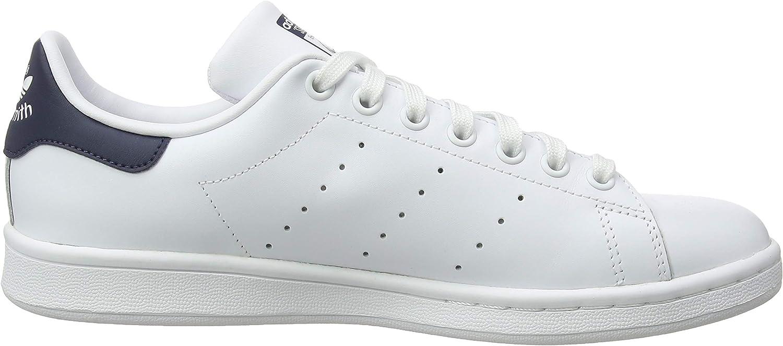 adidas Originals Mens Stan Smith Leather  Sneaker White (Core White/Core White/Dark Blue Core White/Core White/Dark Blue)