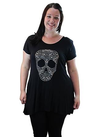 97d664a24 Miss Foxy Short Sleeve Studded Hanky Hem Skull Top: Amazon.co.uk: Clothing