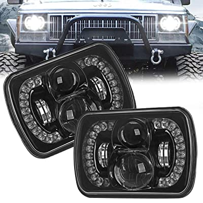 """AUDEXEN 120W 5x7 7x6 LED Headlights Fit for Jeep Wrangler YJ Cherokee XJ, Any Model for 5x7 Headlamps, Unique """"Diamond"""" Design for DRL, DOT Compliant, 2 PCS: Automotive"""
