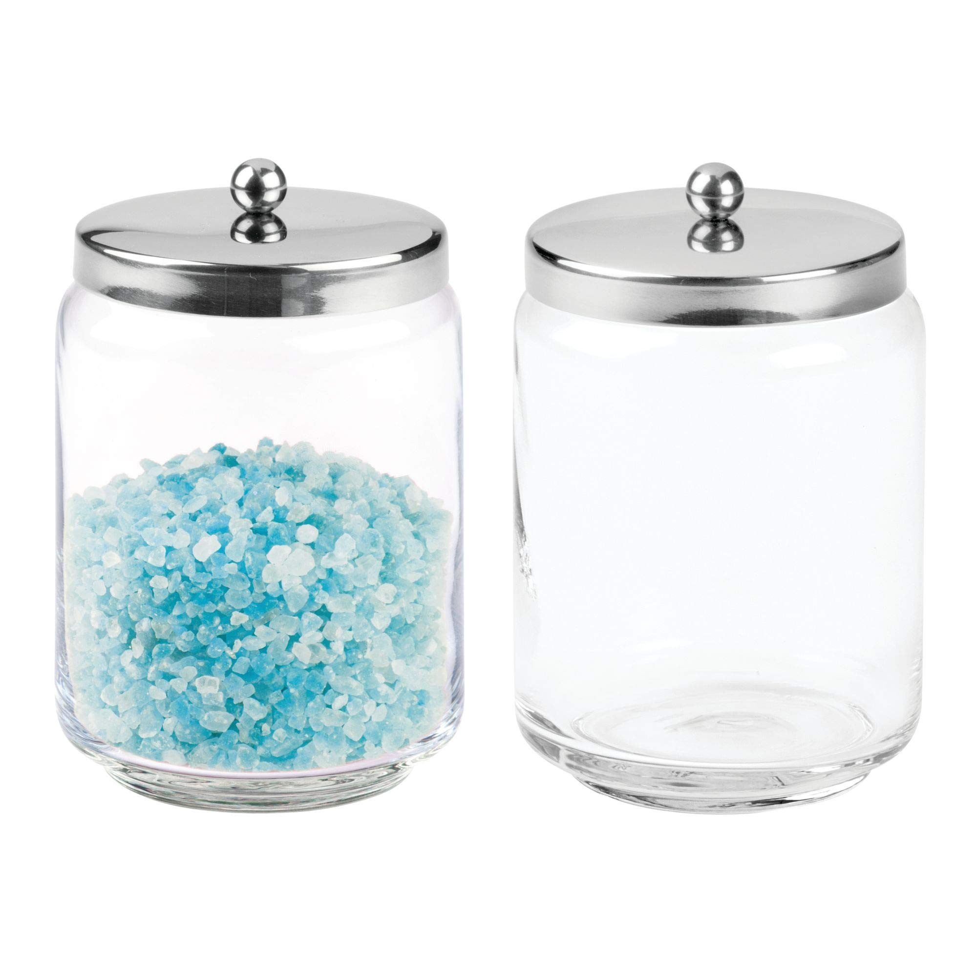 mDesign Bathroom Vanity Glass Storage Organizer Canister Jars for Q Tips, Cotton Swabs, Cotton Rounds, Cotton Balls, Makeup Sponges, Bath Salts - Pack of 2, Tall, Clear/Polished Stainless Steel
