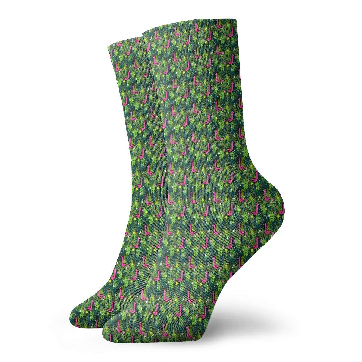 Unisex Pattern With Flamingos Athletic Quarter Ankle Print Breathable Hiking Running Socks