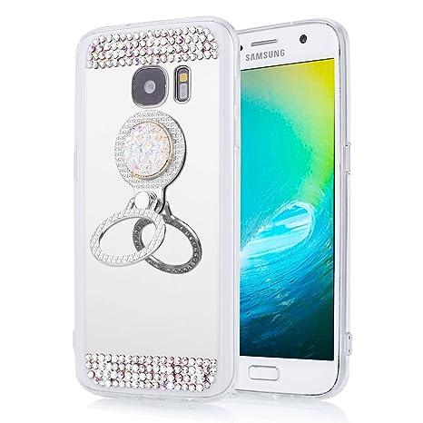 EINFFHO Coque Samsung Galaxy S7 Elegant Briller Diamant Maquillage  Placcatura Réfléchissant Miroir Silicone Coque Housse Étui e00037abb10f