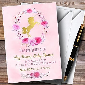 Amazon pink watercolour unicorn girls invitations baby shower pink watercolour unicorn girls invitations baby shower invitations filmwisefo