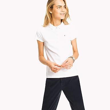 766d465c TOMMY HILFIGER Women's New Chiara Pique Short Sleeve Polo, White (Classic  White),