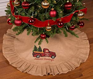 "Primitive Home Decors 36"" Natural Tan Christmas Tree Skirt with Ruffled Edge and Vintage Red Truck Delivering The Christmas Tree"