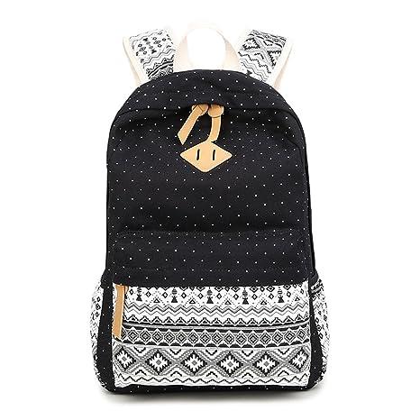 Backpack Mochilas Escolares, Marsoul Mujer Mochila Escolar Lona Grande Bolsa Estilo Étnico Vendimia Casual Colegio