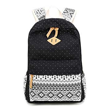 Backpack Mochilas Escolares,Marsoul Mujer Mochila Escolar Lona Grande Bolsa Estilo Étnico Vendimia Casual Colegio Bolso para Chicas (Gypsy Punto Negro): ...