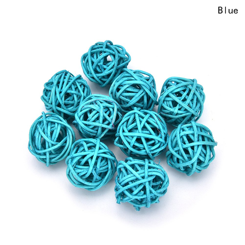 10 Pieces/Set Rattan Wicker Ball Decoration Ornaments Wedding Christmas Party Table Desk Garden Hanging Decoration,Blue,3cm 4U-Lucky