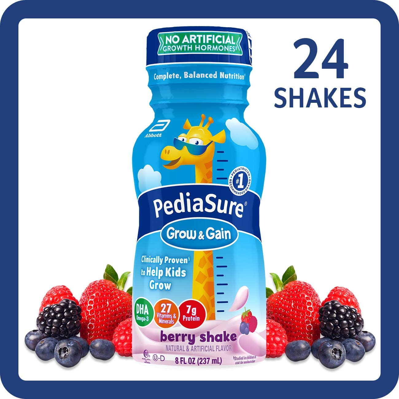 PediaSure Grow & Gain Kids' Nutritional Shake, with Protein, DHA, and Vitamins & Minerals, Berry, 8 fl oz, 24-Count