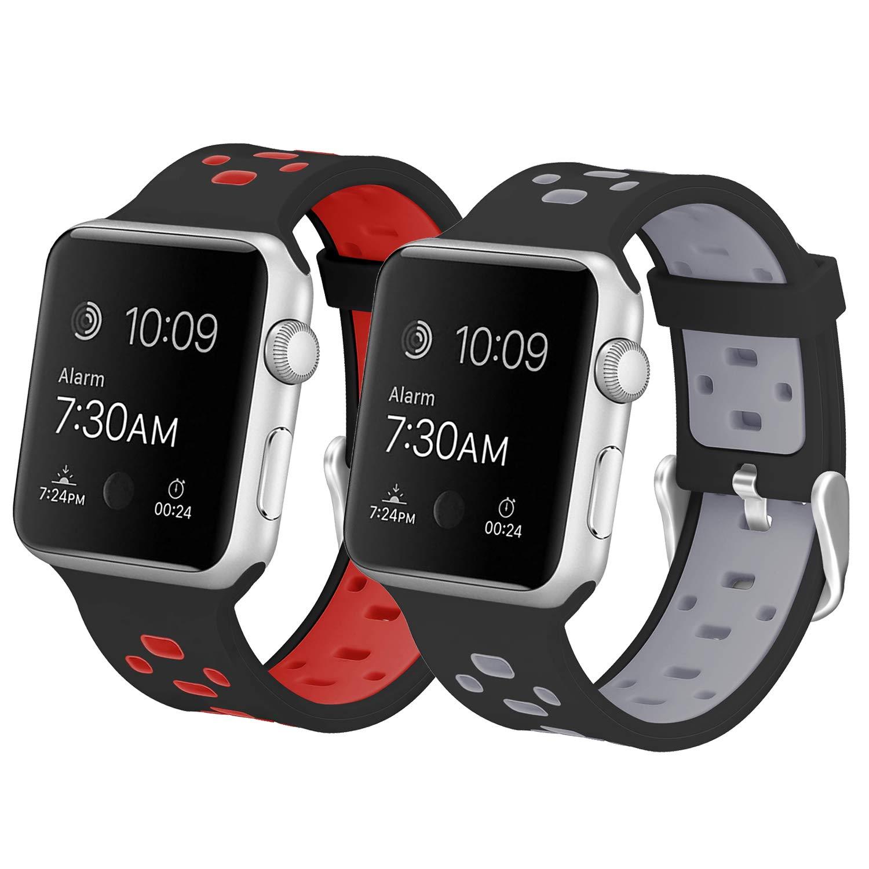 【予約販売】本 バンドfor Apple Watch、Skylet 2パック38 ) mm/ Watch 42 Smart mmシリコン通気性交換リストバンドfor Apple Watchシリーズ2シリーズ1シリーズ3 edition Nike + ( Smart Watch Not Included ) B0774LDH2Y 2PC: Black-Red&Black-Gray 42mm 42mm|2PC: Black-Red&Black-Gray, クックス産直:fb822c27 --- obara-daijiro.com
