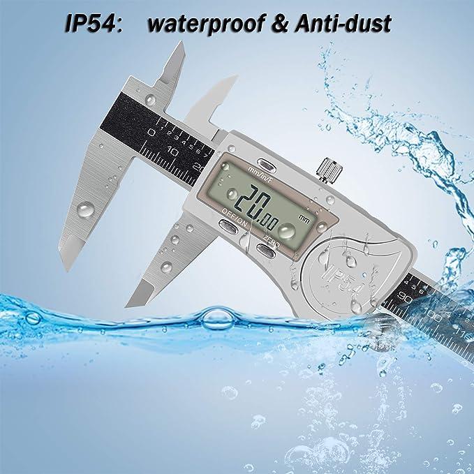 AREWTEC Calibre Digital, Pie de Rey, 150mm Impermeable IP54, 3 Unidades: Pulgada/Fracción/Métrico, DCP15A Calibrador Acero Inoxidable, Diámetro ...
