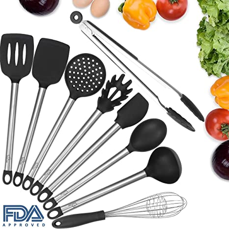 Silicone Kitchen Utensils Set for Cooking Nonstick, Umite Chef 9 PCS  Stainless Steel Silicone Utensil Sets, Turner, Spaghetti Server, Skimmer,  Spoon, ...