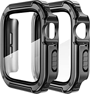 SUPOIX 2 Pack Compatible for Apple Watch Case 38mm with Tempered Glass Screen Protector, Women Rugged Shockproof All Around Protective Bumper Cover Accessories for Series 3/2/1 (38mm)