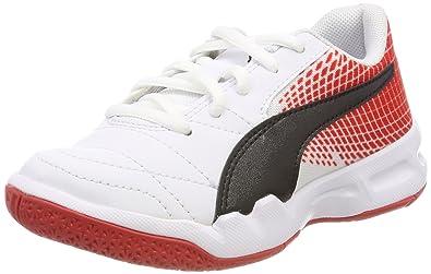 Puma Unisex-Kinder Veloz Indoor NG JR Multisport Schuhe, Weiß White Black-Flame Scarlet 05, 36 EU