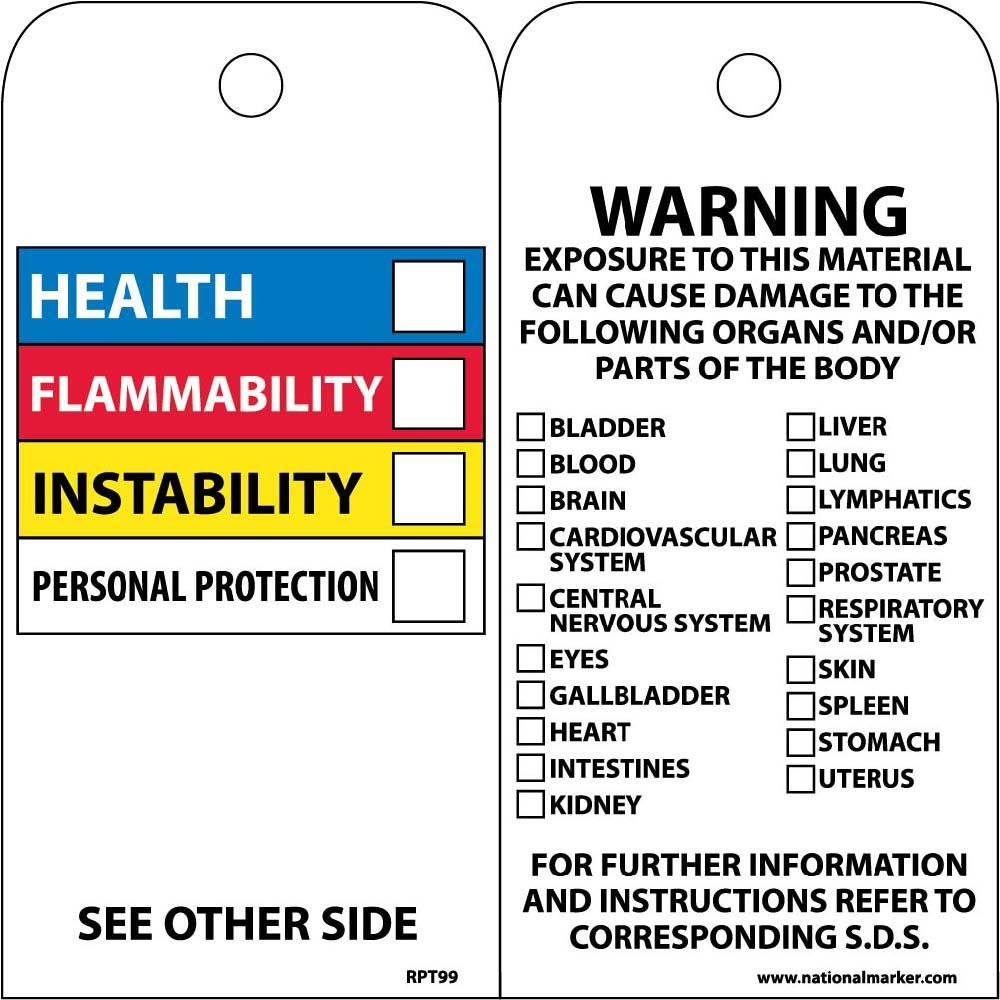 NMC RPT99 Accident Prevention Tag with Color-coded Hazardous Materials Warnings, 6'' Height x 3'' Width, Unrippable Vinyl, Blue/Red/Yellow/Black on White (Pack of 25) by NMC