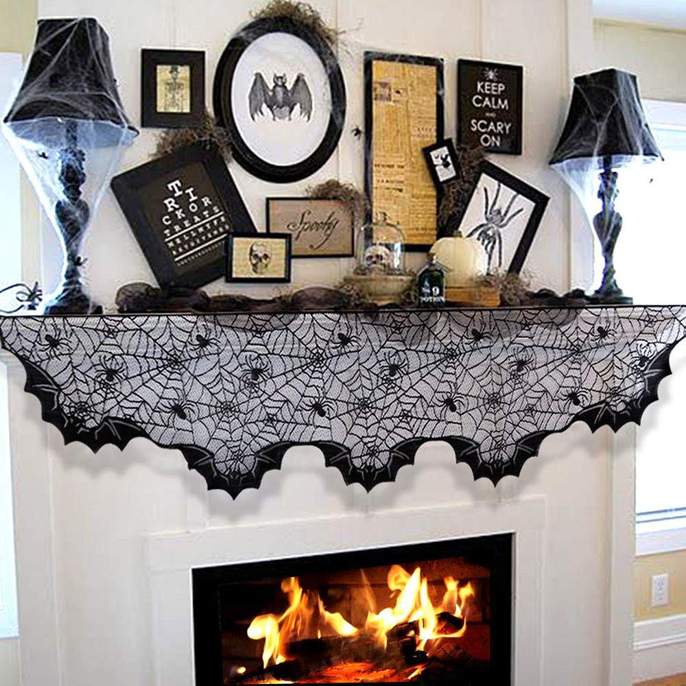 Black Lace Spider Web Fireplace Mantel Scarf Cover Party